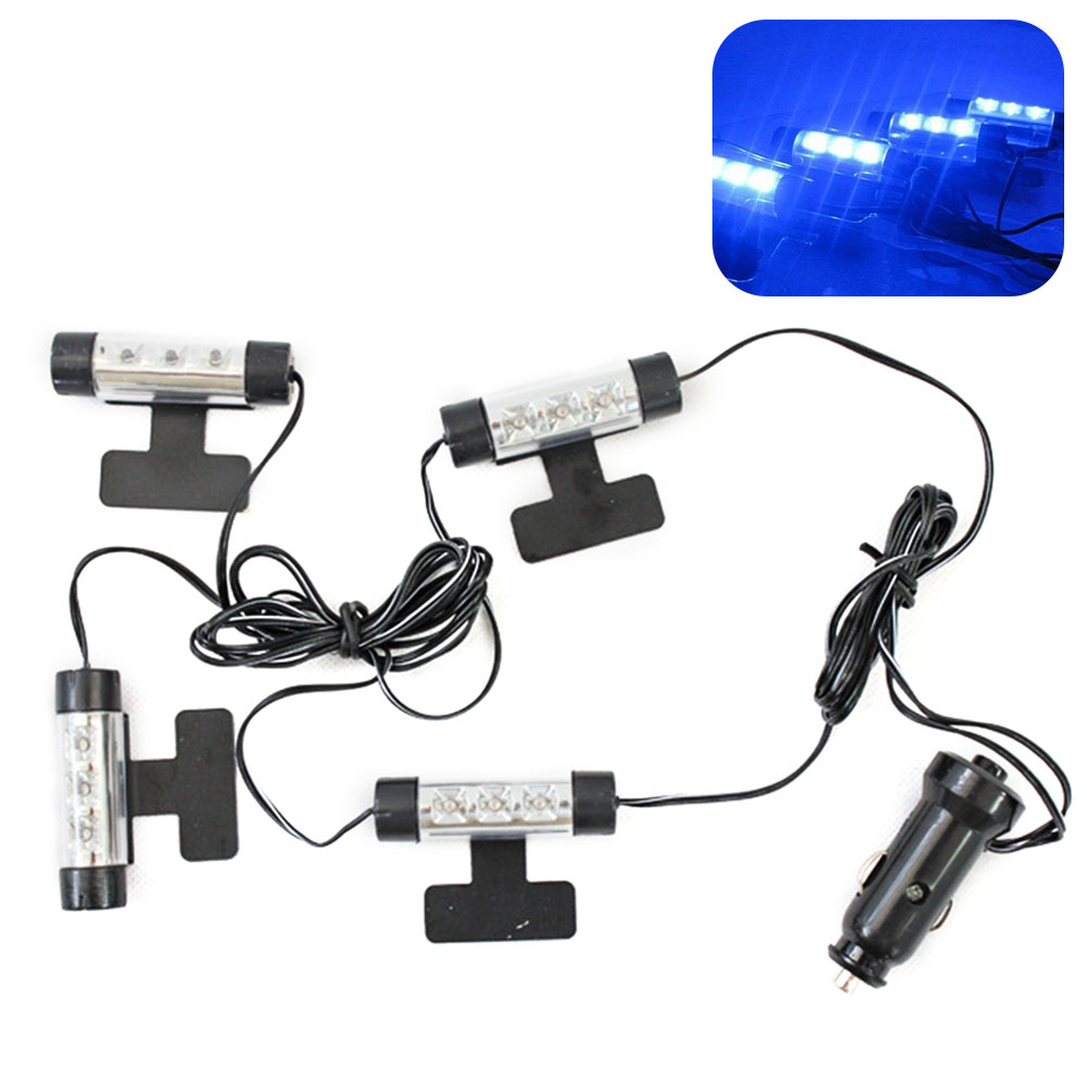 12LED Adjustable Blue Decorative Light 12V Car 4 In 1 Interior Indoor Mood Atmosphere Ambient Lamp ABS Styling Durable