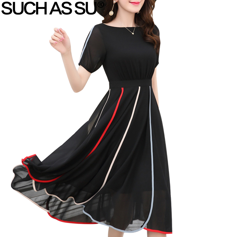 Long M Pleated 01 O 05 Elegant New 02 2018 3xl Korean 04 Dress Sleeve Short Women Mid Chiffon 03 Patchwork Dresses Ruffle neck Lantern U76q7