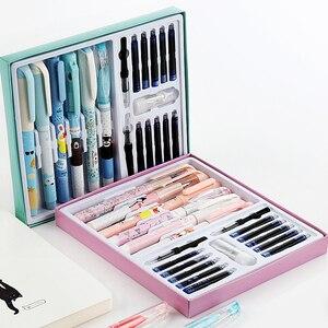 Image 1 - Çocuk öğrenci doğru duruş karikatür dolma kalem seti dahil silme kalem mürekkebi kartuşları dönüştürücüler en iyi noel hediyesi