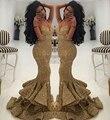 Precio al por mayor del Oro de Lujo Sirena Del Amor de Lentejuelas Vestidos de Baile 2016 de Correas Espaguetis Drapeado Ruffles Largo Vestido de Noche