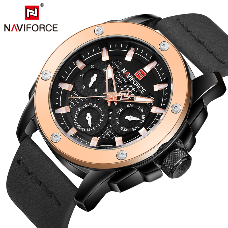 Watches Men NAVIFORCE brand Quartz Watch Leather Fashion Casual reloj hombre Army Military Sport wristwatch relogio masculino luxury brand casima men watch reloj hombre military sport quartz wristwatch waterproof watches men reloj hombre relogio