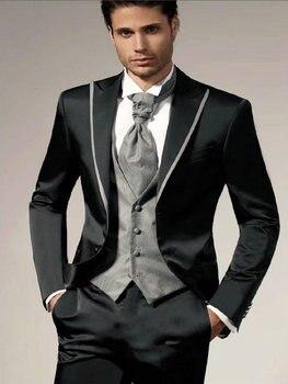 New Design Black Groom Tuxedos Groomsmen Men's Wedding Prom Suits Bridegroom (Jacket+Pants+Vest+Tie) K:894