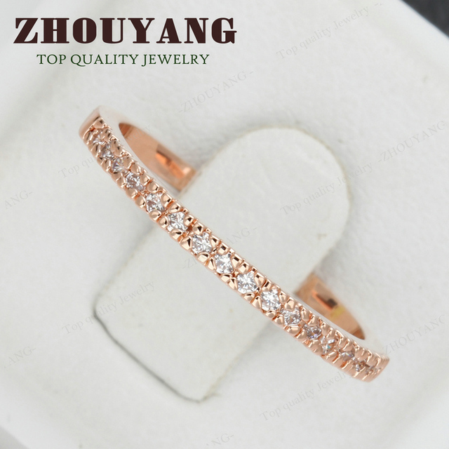 Top Quality Gold Concise Classical CZ Wedding Ring Rose Gold Color Austrian Crystals Wholesale ZYR132 ZYR133 2