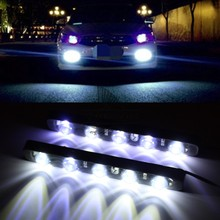 цена на 1pair LED High Power Car 5LED White Daytime Running Light DRL Fog Warning Decorative Lamp High Power Waterproof Universal Fit