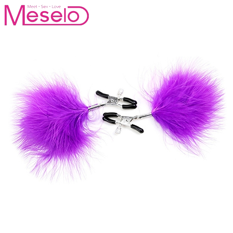 Buy Meselo Labia Nipple Clamps 1 Pair Woman Sexy Feather Nipple Clamp Breast Clip Slave BDSM Fetish Erotic Sex Toys Couple Women