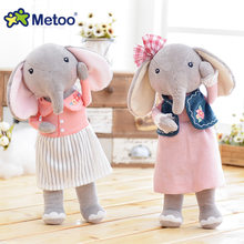 Metoo Doll Cute Cartoon Girls Baby Soft Plush Elephant Stuffed Toys Sweet Kawaii Animal For Kid Children Christmas Birthday Gift(China)