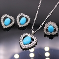 New Trendy AAA CZ Turquoise Jewelry Sets For Women Heart Necklace Earring Ring Jewelry Party Accessories