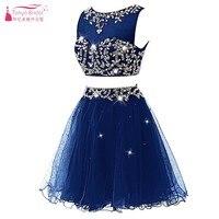 Два предмета короткие платья для выпускного вечера Полный Хрустальный Bling Новая мода формальное платье vestido de festa ярких цветов DQG070