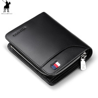 WILLIAMPOLO Genuine Leather Mens Wallet Man Cowhide Cover Coin Purse Small Brand Male Credit&ID Multifunctional Walets pl298