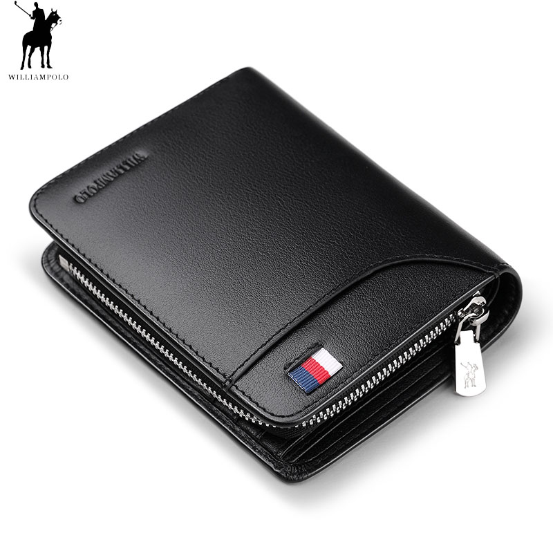 WILLIAMPOLO Genuine Leather Mens Wallet Man Cowhide Cover Coin Purse Small Brand Male Credit&ID Multifunctional Walets polo298