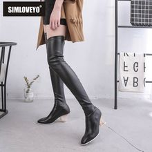 SIMLOVEYO Over the knee boots Winter Shoes women Clear heel Round toe Slip on Leather Black Thigh high boots Stretch Booties south korean style winter knee high boots round toe slipsole slip on buckle strap all purpose black brown women riding boots