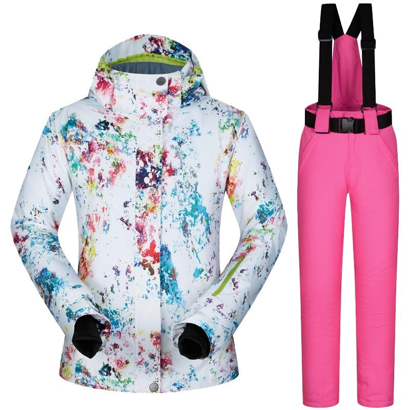 Femmes de Ski Veste et Pantalon D'hiver En Plein Air Veste Snowboard Ski Manteau Vêtements De Ski de Neige Costume Femmes Coupe-Vent Imperméable Respirant