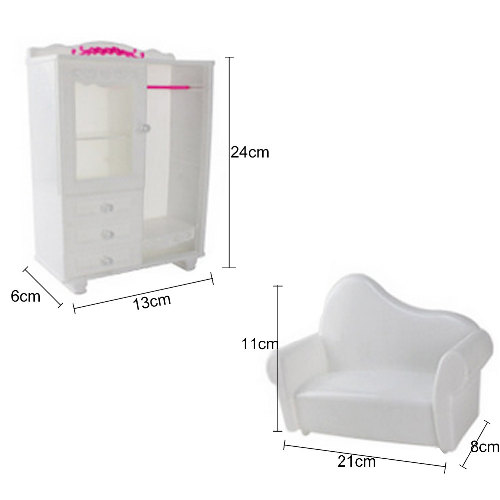 Satkago 5 PCS Doll Furniture Accessories Kit Wardrobe Dresser Chair Sofa Bed for Barbie Toys Children Girls Birthday Xmas Gift