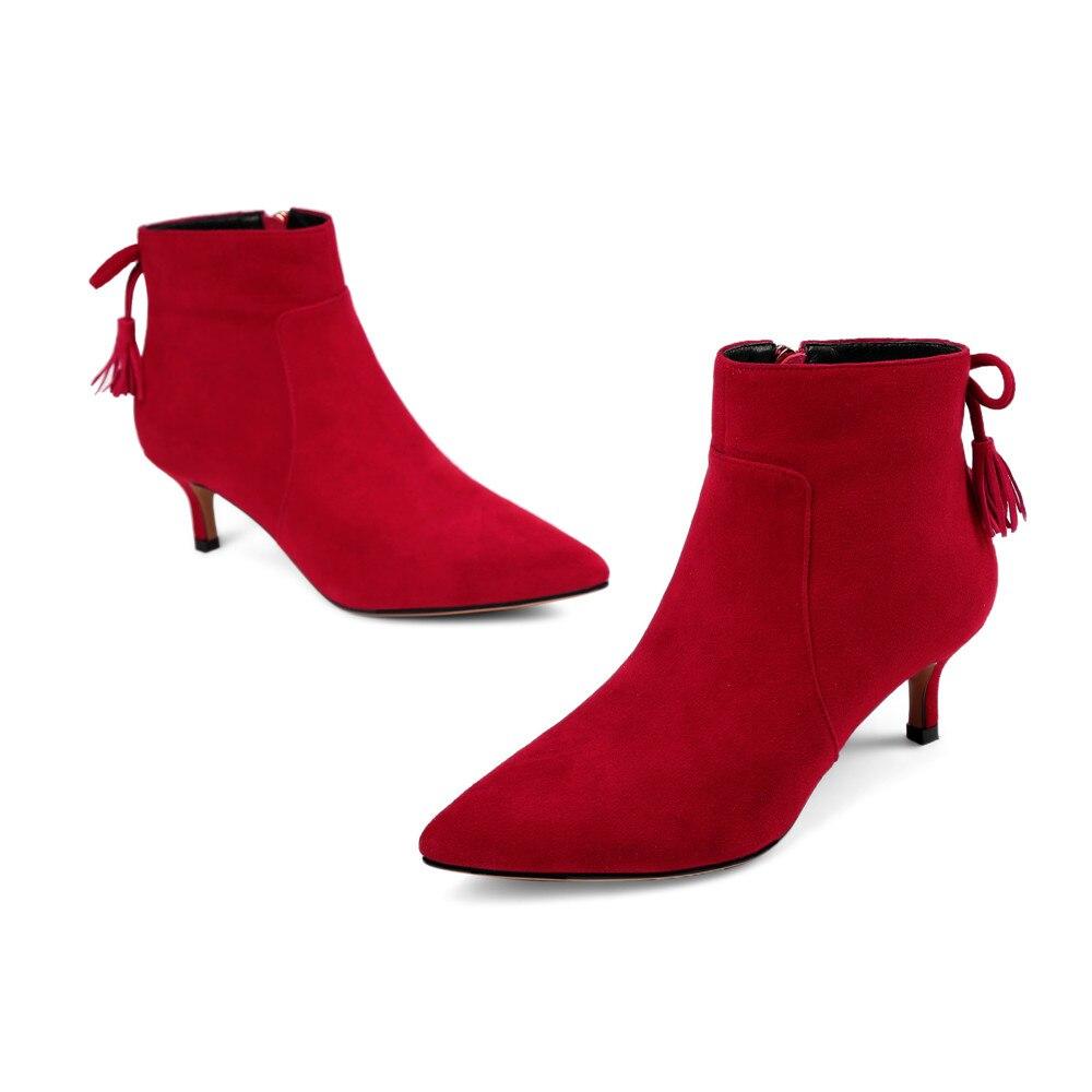 Ayakk.'ten Ayak Bileği Çizmeler'de Asumer kırmızı siyah moda sonbahar kış kadın çizmeler sivri burun fermuar çapraz bağlı bayan çocuk süet yüksek topuklu deri ayak bileği çizmeler'da  Grup 3