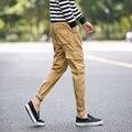 Venta caliente 2016 pantalones casuales hombres ropa de Marca de Alta calidad el otoño y el invierno de Largo de Color Caqui Pantalones masculinos Más El Tamaño M-5XL