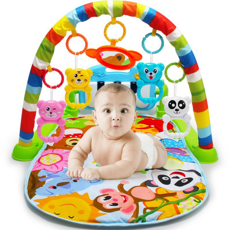 Newest 3 In 1 Baby Play Rug Develop Crawling Children's Music Mat With Keyboard Infant Fitness Carpet Educational Rack Toys