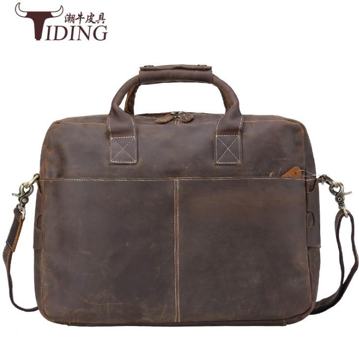 Men Crazy Horse Genuine Leather Messenger Shoulder Bag2017 Vintage Handmade 16 Inch Laptop Briefcase Casual Travel Weekend Tote
