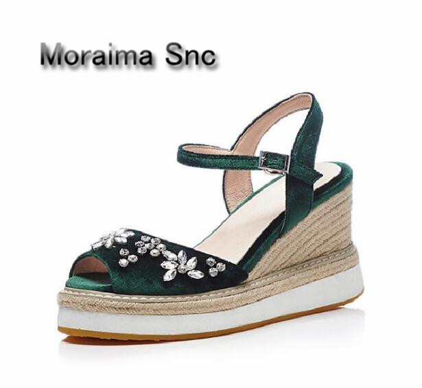 Hot Selling gladiator sandals women peep toe Bohemia wedges sandals shoe summer flower crystal 9.5 cm platform high heel sandals stylesowner fashion women rivets pearl platform wedges flower sandals buckle metal high heel ladies sandals summer platform shoe