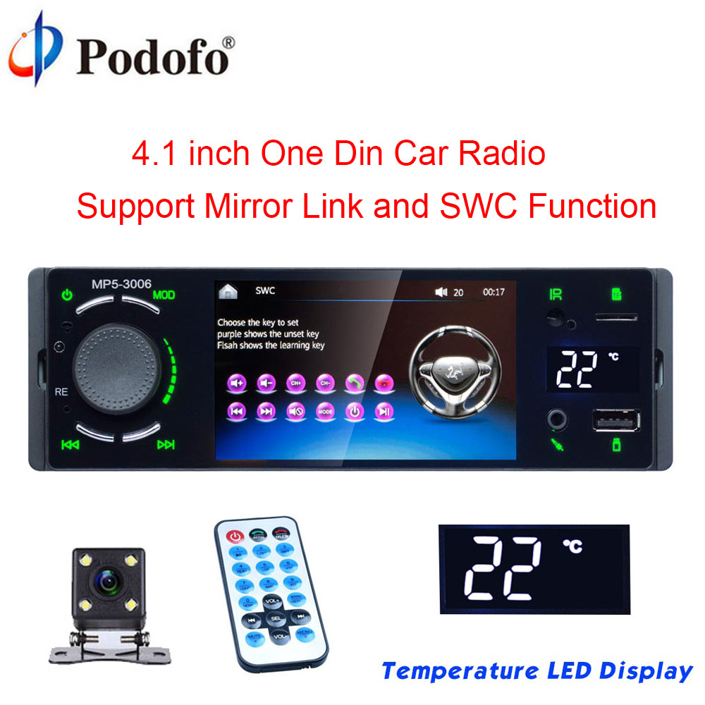 Podofo 4″ Bluetooth Car Radio Touch Screen 1 Din Mirror Link Autoradio MP5 Video Player USB AUX Audio Stereo Rearview Camera