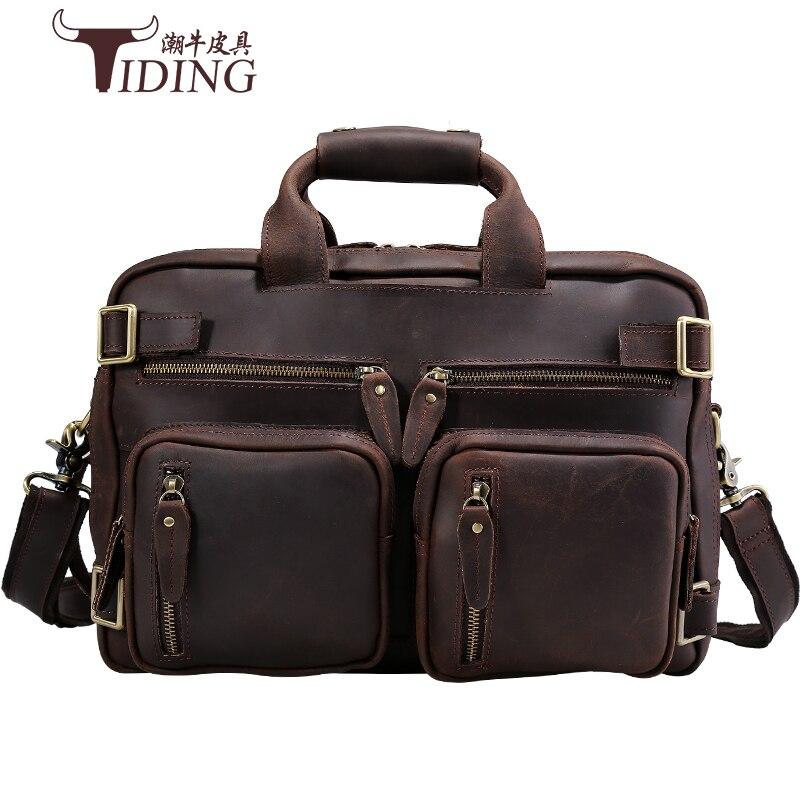 Backpacks Multi Function Crazy Horse Genuine Leather Brand Backpack Travel Bag Men 39 s Luggage Vintage shoulder Weekend Bag in Backpacks from Luggage amp Bags