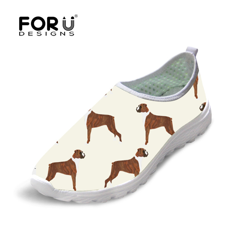FORUDESIGNS Women Casual Loafers Breathable Boxer Dog Printed Flat Shoes Woman Slip on Comfortable Walking Shoe Sapato Feminino