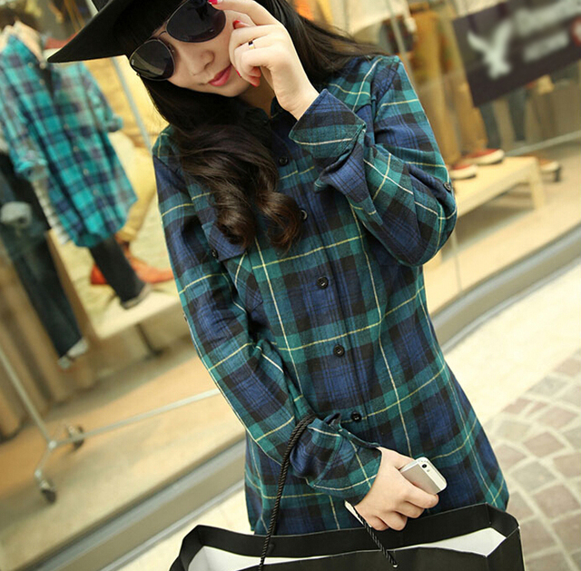 Fashion Autumn Cotton Plaid Shirt Women Long-sleeve Casual Slim Female Student Flannel Shirts 2015 Tops Green M,L,XL,XXL,XXXL