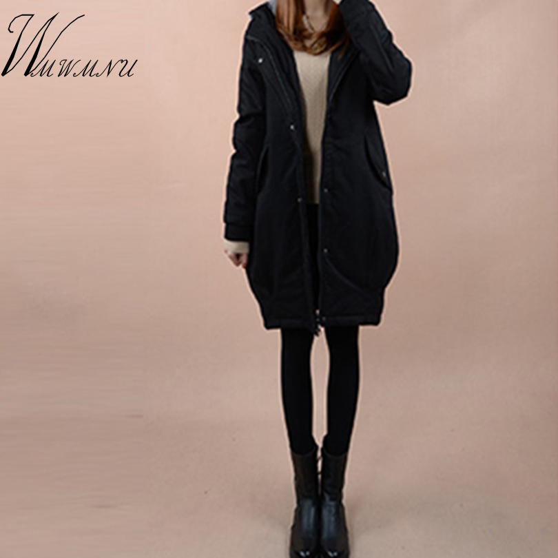 WMWMNU Winter Coat 2017 New Medium-Long Wadded Jacket Women Slim Plus Size Outwear Thick Hooded Cotton Fleece Warm Cotton Coat new 2016 winter cotton coat women slim outwear medium long wadded jacket thick hooded cotton wadded warm cotton parka plus size