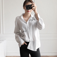 Long Sleeve Shirt Women Tops Embroidery Blouse Striped Shirts Women Blouses Loose Top Blusas Mujer De