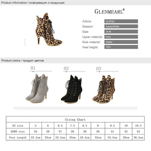 Women Boots Winter Shoes High Heels Fashion Leopard Ankle Boots Pointed Toe Casual Shoes Woman Lace Up Plus Size Ladies Pumps DE 5