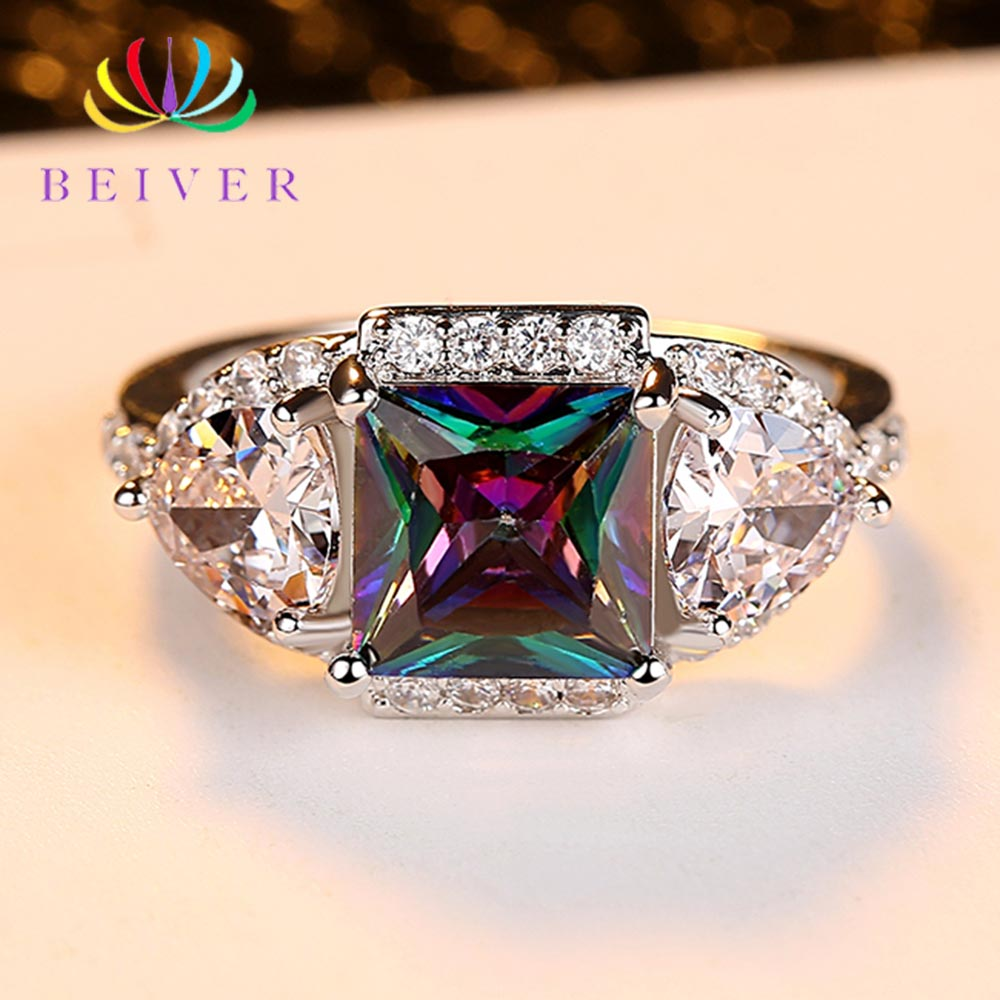 Beiver 2019 New Arrival White Gold Color Rainbow Square Zircon Promise Wedding Bands Rings for Women Party Jewelry Ladies Gifts
