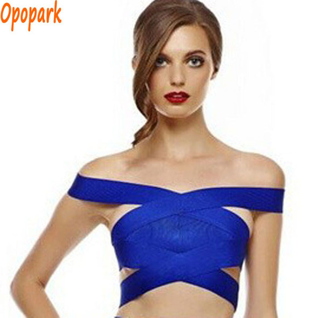 2016 женщины упругие сексуальный повязку лучших слэш шеи выдалбливают спинки насыщенный синий плотно мода прямая поставка HLV212