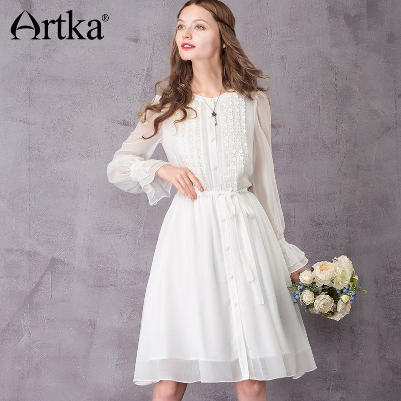 b127785da95 ARTKA Women s 2018 Autumn Vintage White Chiffon Dress Fashion O Neck Puff  Sleeve Empire Waist Knee Length Dress LA10970X-in Dresses from Women s  Clothing on ...