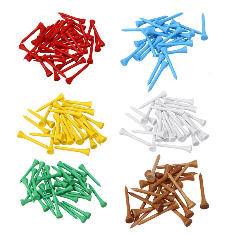 100pcs/Set Golf Tees mutli Color Solid Wooden Golf Ball Nail