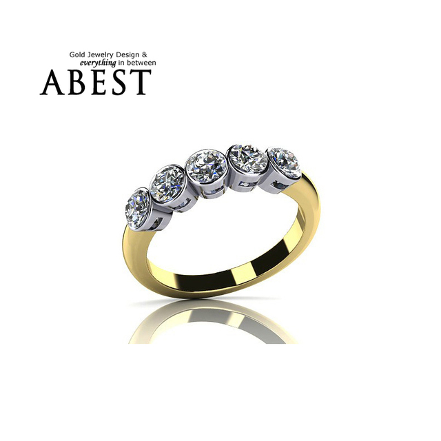 Fashion Jewelry Rings for Women Bijoux Row Drilling Line 925 Sterling Silver Yellow Gold  Party Rings Sona Simulated Best Band