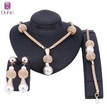 Dubai joyería de perlas de imitación simulado perla oro color mujeres Pendientes collar pulsera Sets para mujeres regalo de boda