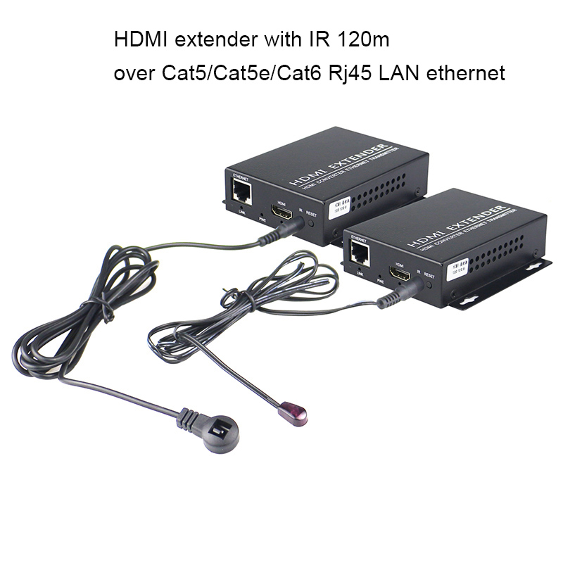 Hdmi extender with IR 120m over Cat5/Cat5e/Cat6 Rj45 LAN ethernet Support 1080p HDMI Splitter Transmitter Receiver