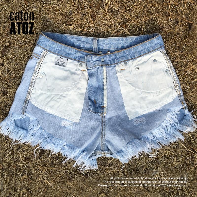 f9b7a0e703a4 catonATOZ 2054 Women's Summer Brand Vintage Tassel Leopard Rivet Ripped  Short Jeans Punk Sexy Woman Denim Shorts-in Shorts from Women's Clothing on  ...