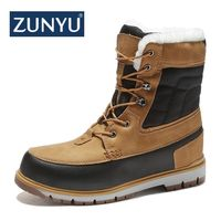 ZUNYU Winter With Fur Snow Boots For Men Sneakers Male Shoes Adult Casual Quality Waterproof Ankle 30 degree Celsius Warm Boots