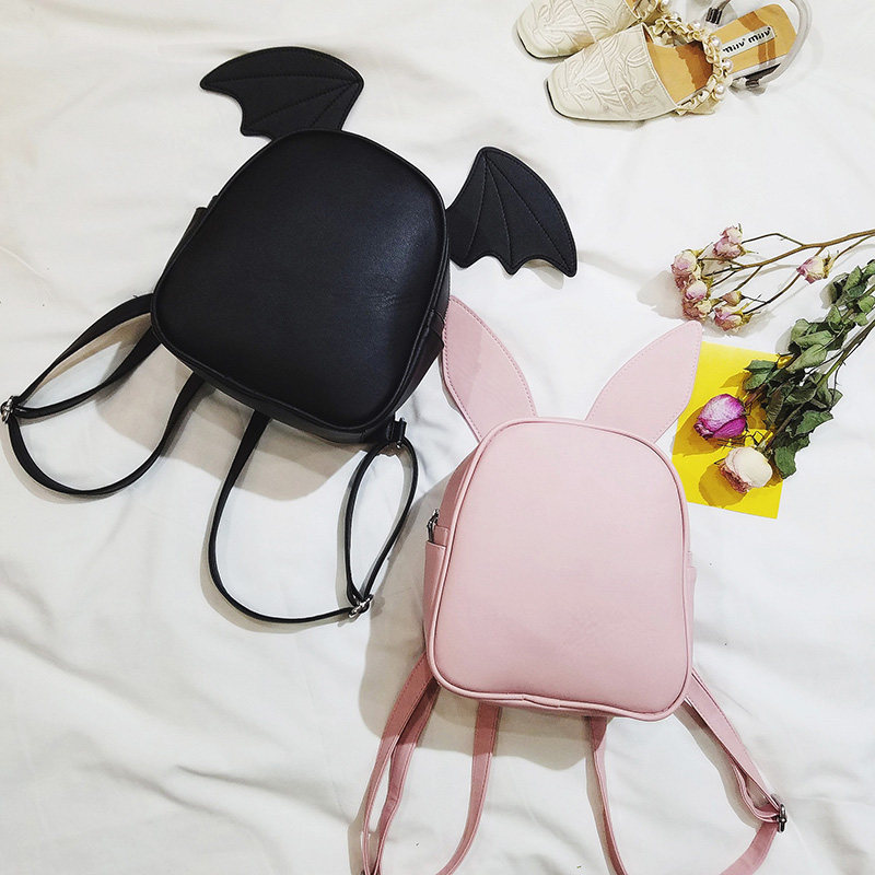 Fashion Women Backpacks 2017 New High-quality PU Leather Women Backpack Cute Ears School Backpacks Travel Small Shoulder Bags takem 2018 new women backpack 3 piece set pu leather lady laptop backpacks card package hairball decorative fashion bags