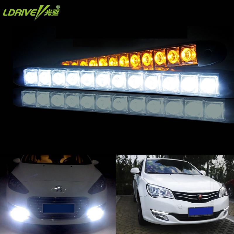 Us 938 39 Off2 Sztukpartia Elastyczne Drl Led światła Do Jazdy Dziennej Samochodów Zewnętrzne Bar światła Przeciwmgielne 12 V 56 912 Diod Led