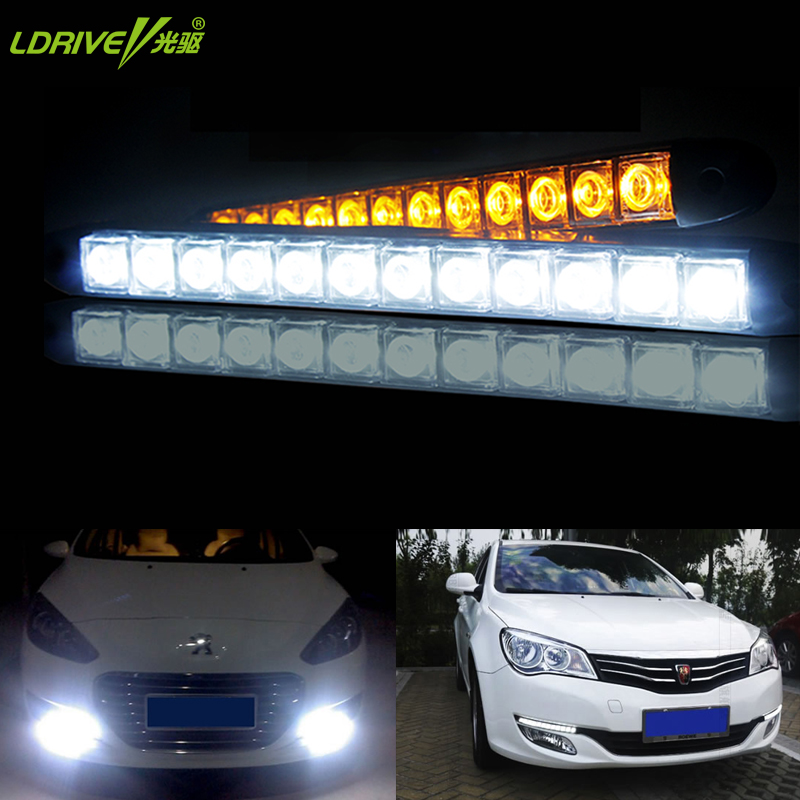 2 Pz / lotto DRL flessibile Luci diurne a LED Luci per auto Luci esterne antinebbia per auto 12V 5/6/9/12 LED Car Styling Decor Lighting