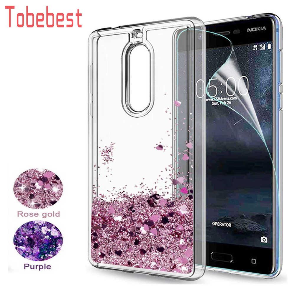 עבור Nokia 5 גליטר מקרה עבור Nokia נוקיה 2 3 5 6 8 Sparkle מבריק בלינג טובעני נוזלי ברור TPU slicone חזור כיסוי עבור Nokia 6