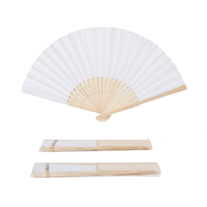 Image 5 - 50pcs/lot White Bamboo Folding Paper Hand Pocket Fan Chinese Fan Wedding Favors Birthday Gifts Party Decoration Home Decor 21cm
