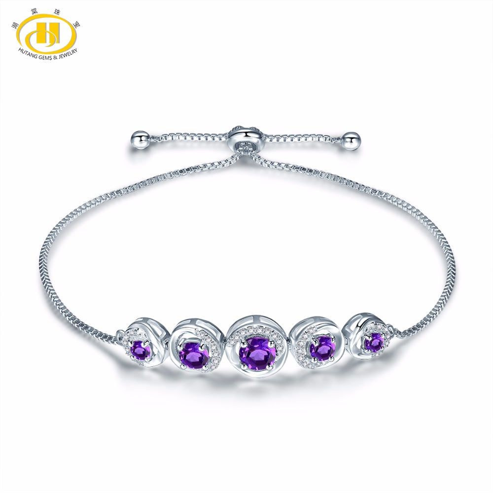 Hutang Stone Jewelry Natural Gemstone African Amethyst Solid 925 Sterling Silver Adjustable Bracelet Fine Fashion Jewelry
