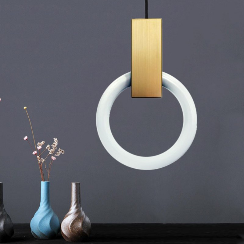 Nordic Design Led Gold Glass Ring Modern Pendant Ceiling Lamps Hanging Light for Bar Loft Decor Kitchen Dining Room Living Room