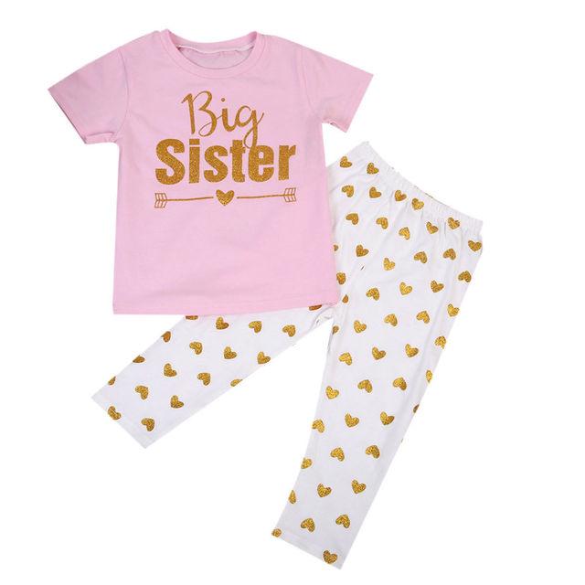 bb1b25deef215 Little Sister Big Sister Newborn Toddler Infant Kids Baby Girl Romper T-shirt  Top Pant Leggings Outfits Family Match 2PCS Set