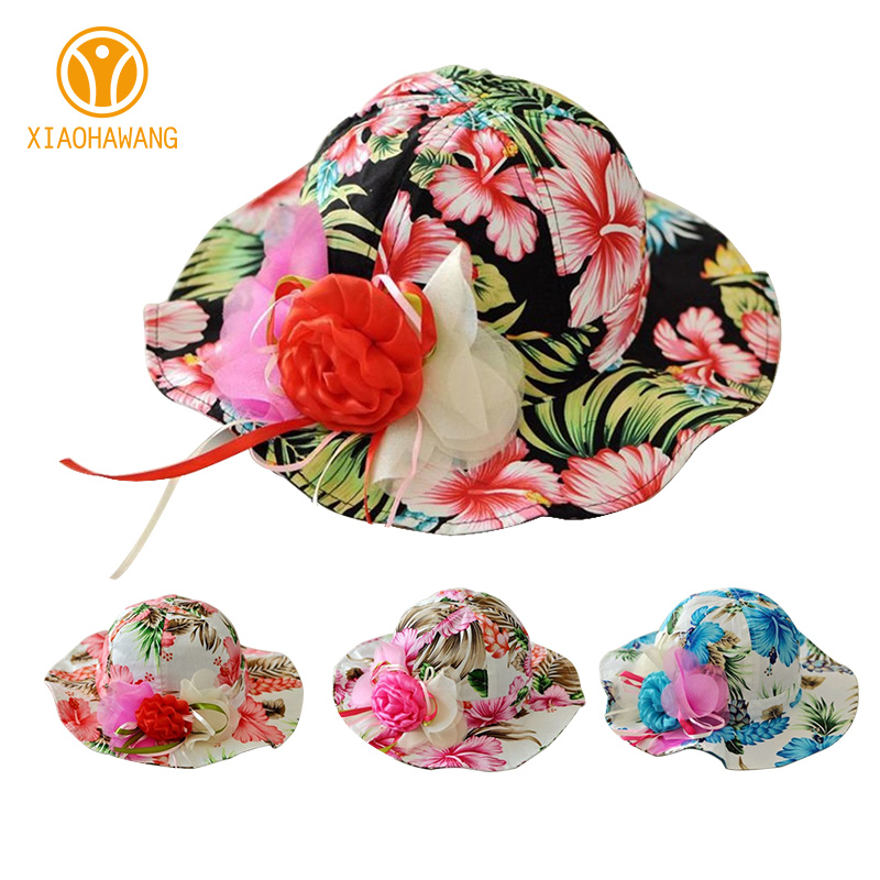 100% Quality Flower Panama Baby Girls Cap Cotton Floral Children Summer Hat Colorful Flower Print Kids Caps Wild Brim Baby Girls Clothing