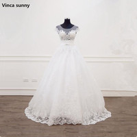 Vinca Sunny Charming A Line Short Sleeve Tulle Lace Appliques Vintage Boho Wedding Dress 2018
