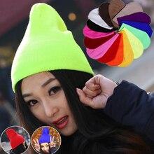 Fashion Women Men Lovers Hat Winter Solid Color Plain Beanie Knit Ski Cap Skull Hat Warm Cuff Blank Beany