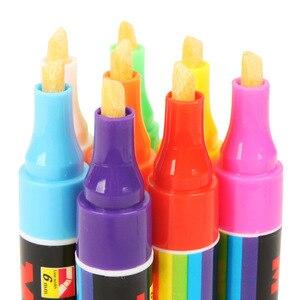 Image 2 - 8 اللون 6 مللي متر قابل للمسح المائل قلم تحديد مجموعة السائل الطباشير الفلورسنت النيون LED زجاج النافذة أقلام الطلاء السبورة ماركر